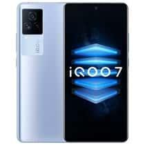 iQOO 7 dengan warna biru, hitam dan putih